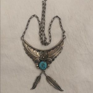Silver chain of 925-th test with a stone of Navajo